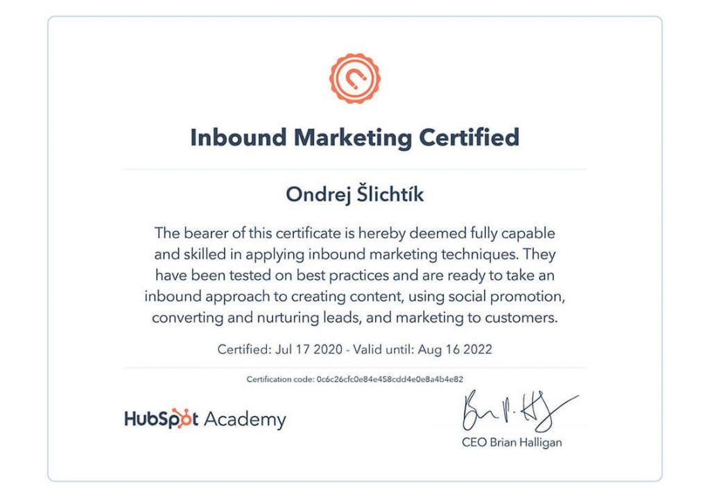 Certifikát od HubSpot Academy: Inbound Marketing